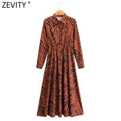 Zevity New Women Elegant Zebra Striped Print Elastic Waist Midi Shirt Dress Female Long Sleeve Casual Slim Split Vestido DS4739