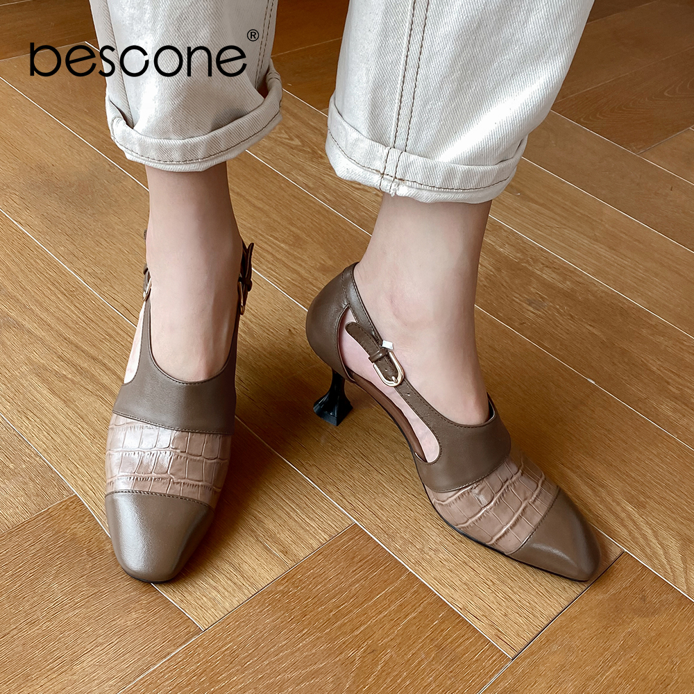 BESCONE Elegant Pumps Women Buckle Decoration Office High Quality Tapered Heels Cow Leather Patchwork Pumps Slip-On Shoes BO458