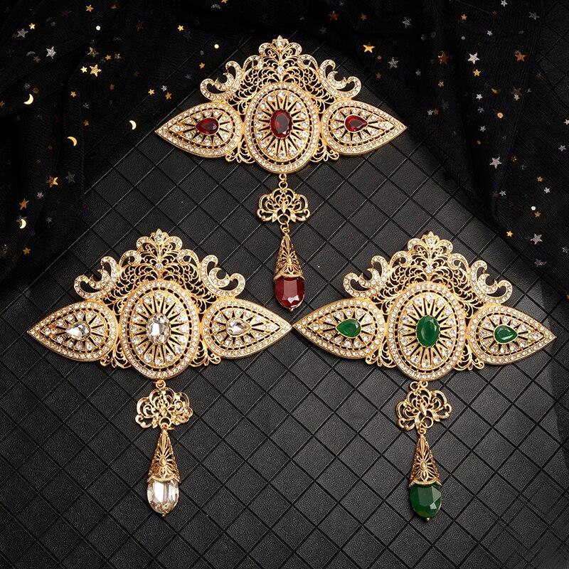 Broche com Strass Grande Estilo Marroquino Jóias Broche Clássico Ouro Cristal Oco-para Fora Árabe Casamento