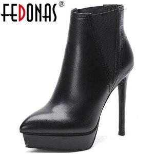 Женские ботильоны на платформе FEDONAS, Черные ботильоны из натуральной кожи на высоких каблуках, Клубная обувь на осень-зиму 2020