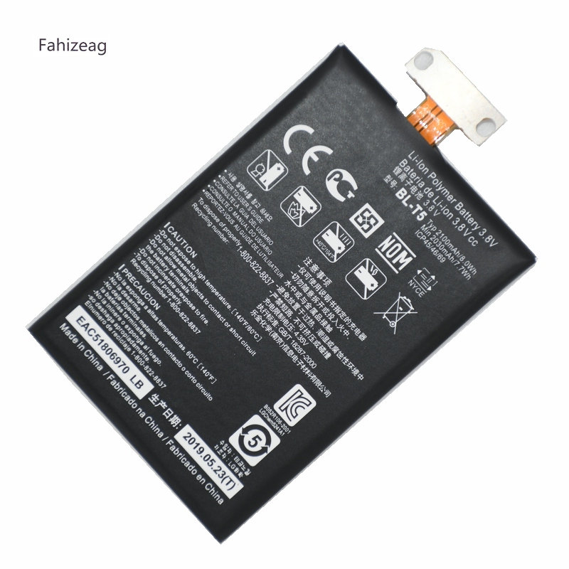 Fahizeag 10PCS <font><b>2100mAh</b></font> BL T5 BLT5 BL-T5 <font><b>Battery</b></font> Replacement For <font><b>LG</b></font> Google Nexus 4 E960 E975 E973 F180 moile Phone <font><b>battery</b></font> image
