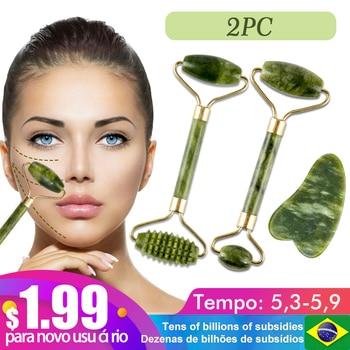 2pc jade pedra rolo de massagem facial para rosto natural massager verde guasha raspador conjunto fino elevador beleza emagrecimento ferramentas rolo 1