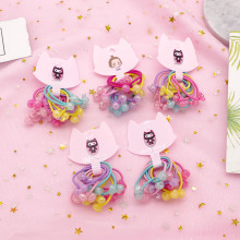 10 Pcs/set Simple Korean Color Transparent Beads Children Knotted Rubber Elastic Hair Bands for Child Girl Accessories