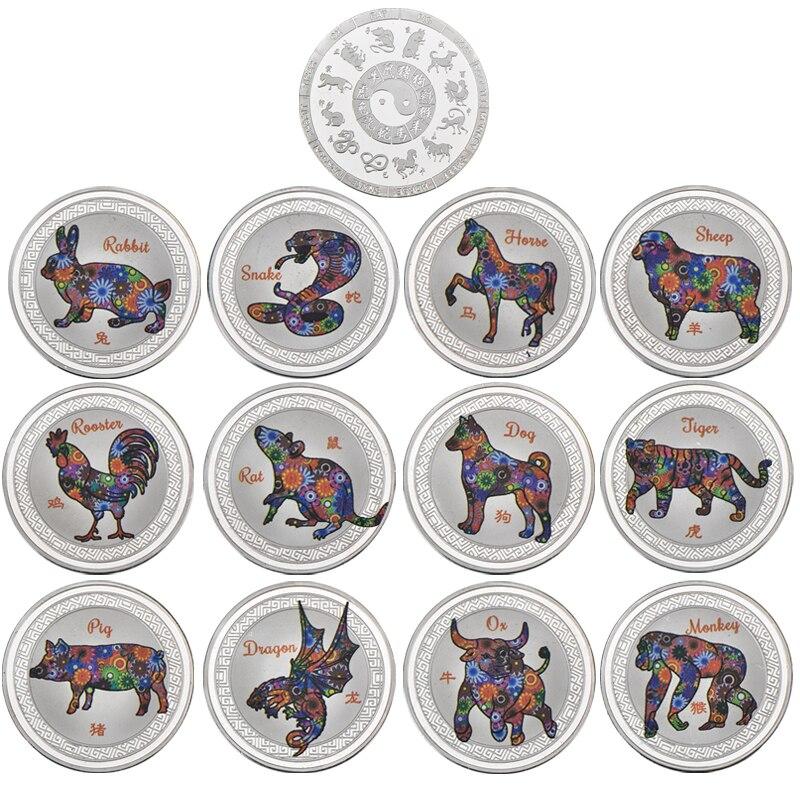 WR китайская крыса год зодиака Монеты коллекционные с монетницей серебряные слитки вызов монеты Рождественский подарок для мужчин Прямая п...