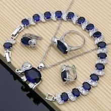 Elefanten 925 Silber Braut Schmuck Sets Blau Zirkon Weiß Birthstone Für Frauen Ohrringe/Anhänger/Ring/Armband/halskette Sets
