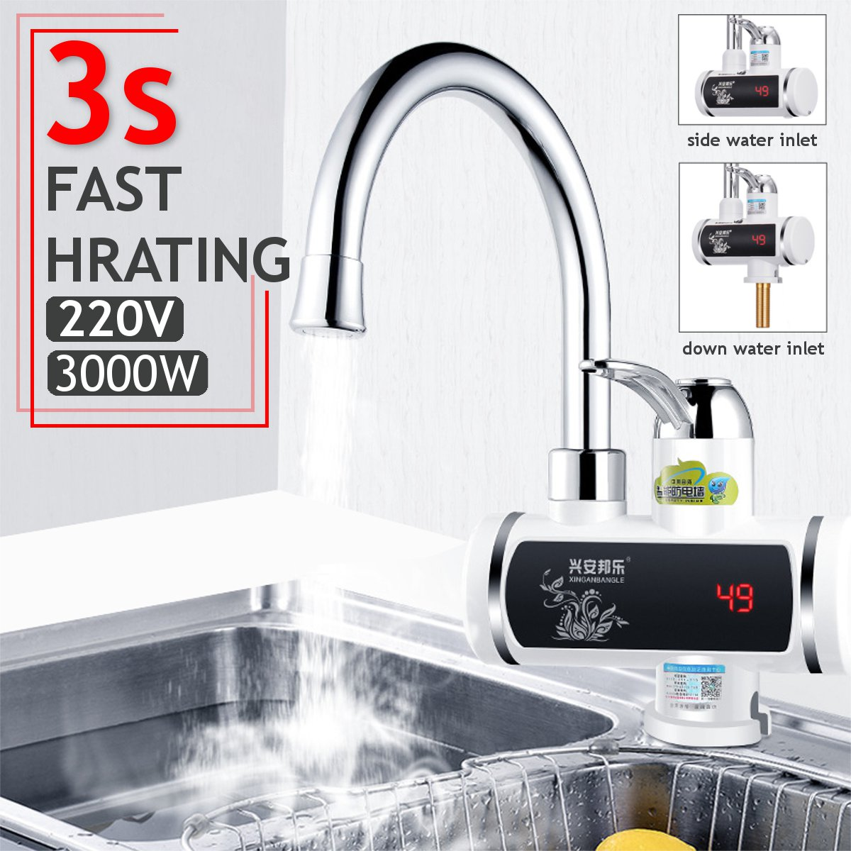 Electric Water Heaters 220V 3000W Instant Electric Faucet Home Kitchen Hot Cold Water Heater Tap Mixer Kitchen Bathroom Fixture