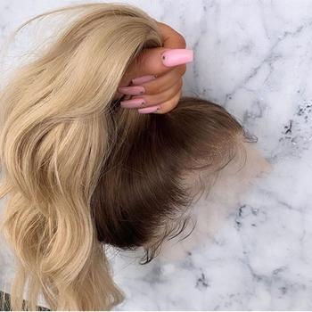 Ombre blond z ciemnymi korzeniami koronkowa peruka na przód falista czysta popiół miód blond 13*4 koronkowa peruka z ludzkich włosów peruki wstępnie oskubane brazylijski tanie i dobre opinie PAFF CN (pochodzenie) średni rozmiar