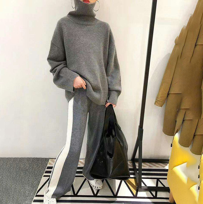 [EWQ] 2019 Spring Autumn Turtleneck Collar Long Sleeve Sweater Stripe Hit Color Knitting Wide Leg Pants Suit Women AD47502a