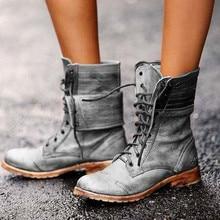 Zapatos para mujer hasta la rodilla botas de cuero de otoño con cordones planos mujeres Sexy moda ejército negro verde botas Vintage de talla grande 35-43