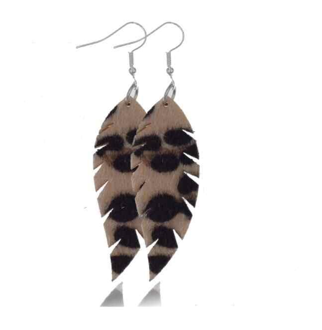 Moda hecho a mano pu cuero pendientes Boho geometría leopardo estampado borla colgante mujer joyería