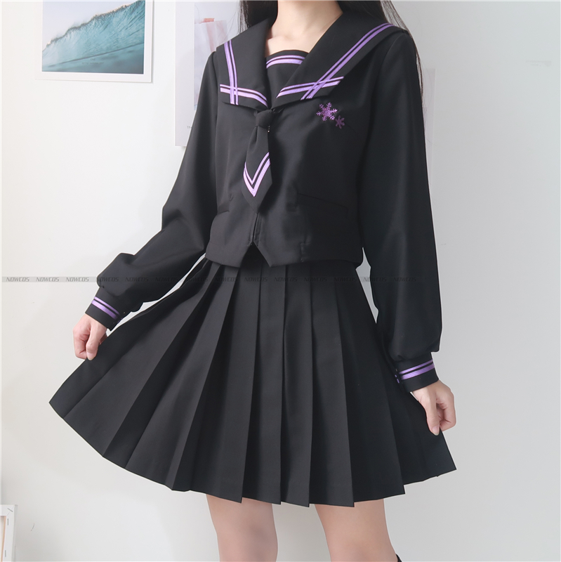 [Dark Shadow] Student JK Uniform Long Sleeve Japanese Girls School Uniforms Sets Pleated Skirt COS Costume Snowflake Embroidery