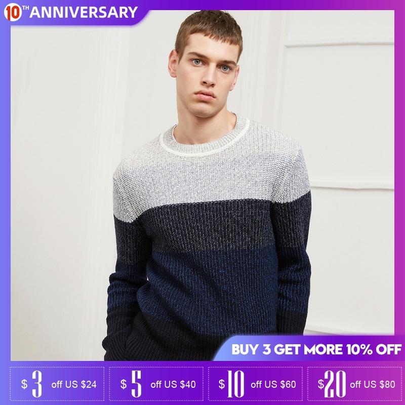 JackJones Autumn Winter Mens Round Neck Stripe Cashmere Sweater| 218425504