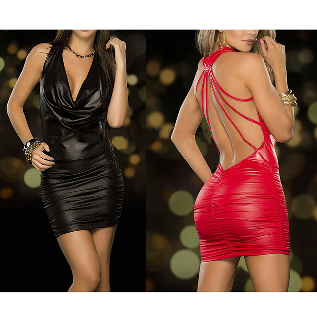 Sexy Women Exotic Dresses Wet Look Backless Bandage Deep V-Neck Dress Halter Latex Costume Party Night Club Pole Dance Dress 3