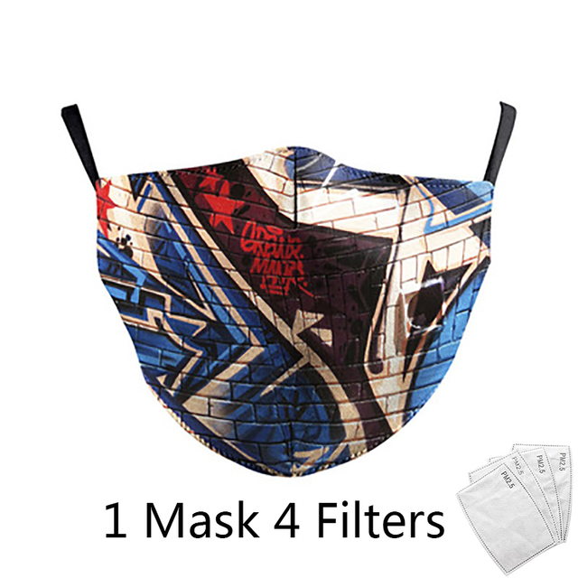 4Pcs Filter Classic Van Gogh Oil Draw Print fashion Face Masks  Adult mask Reusable Washable Fabric Mouth Mask PM 2.5 Dust Masks 3