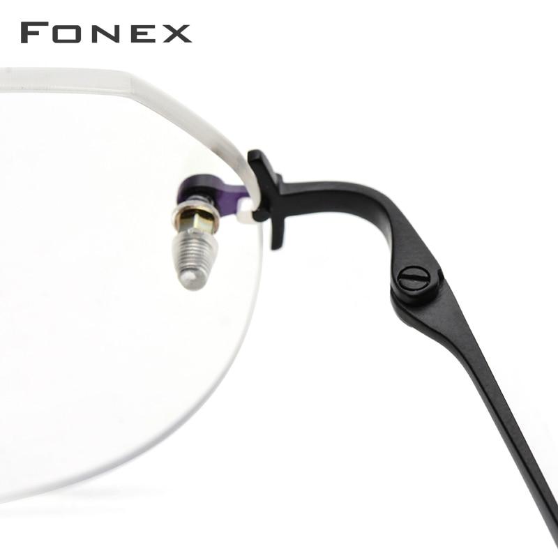Image 3 - FONEX Pure Titanium Rimless Glasses Men Vintage Polygon Prescription Eyeglasses Frame Women Myopia Optical Frames Eyewear 9142-in Women's Eyewear Frames from Apparel Accessories
