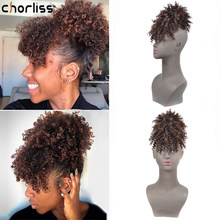 Chorliss High Puff Hair Bun with Bangs Hairpiece Afro Kinky Curly Ponytail Synthetic Hair Drawstring Ponytail for Women Hot Sale(China)