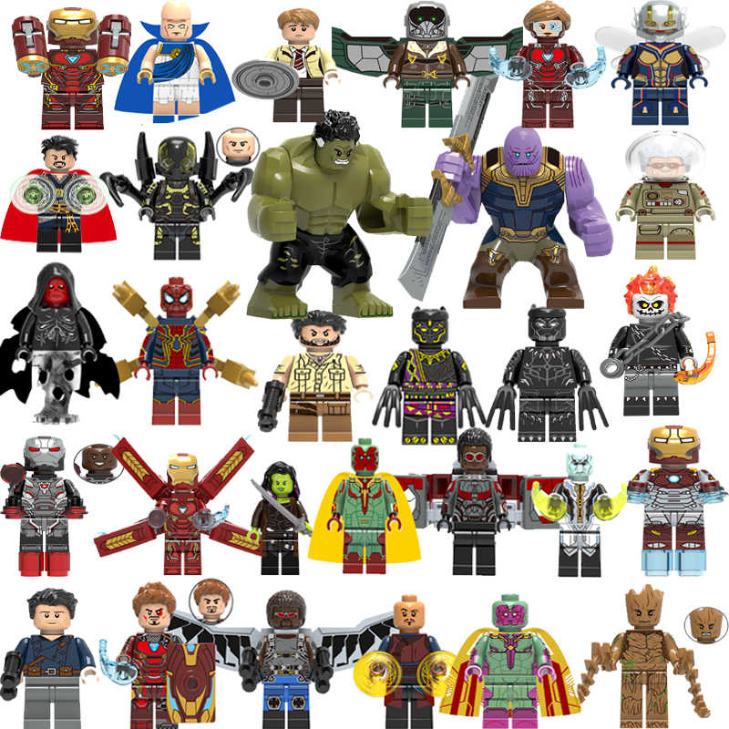 Marvel Avengers Super Heroes Infinity Guerra Thanos Guanto di Sfida Thor Iron Hulk Capitan America Spider Man Building Blocks Giocattoli