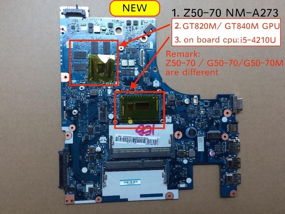 For Lenovo Z50-70 Motherboard ACLUA/ACLUB NM-A273 Rev1.0 Mainboard I5-4210U GT820 2GB
