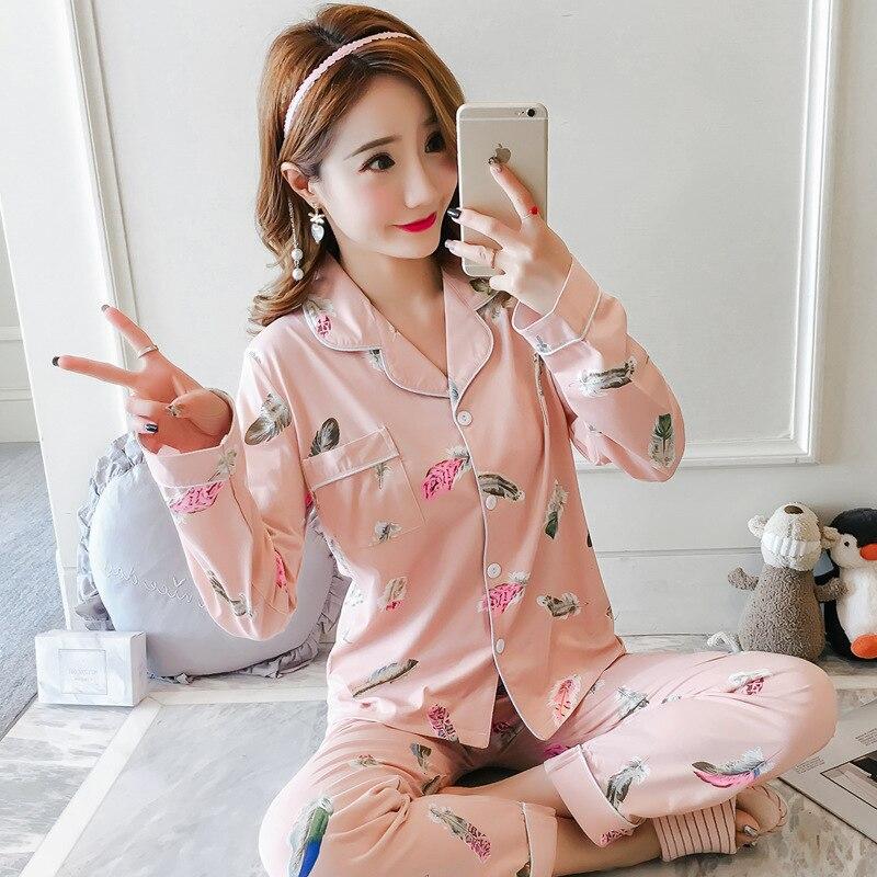 [[Jun Xin] Autumn Cardigan 1021 Feather 200g Qmilch Long Sleeve Pajamas Suit M-XXL