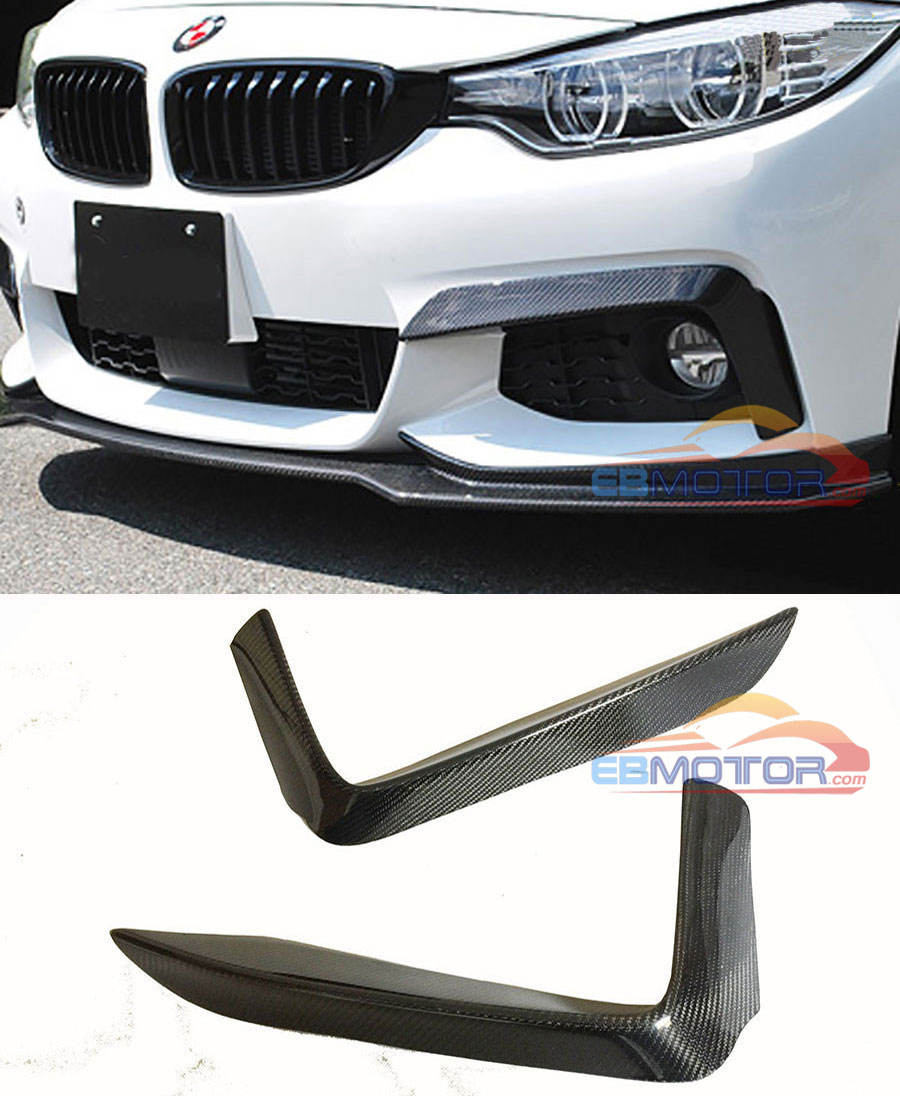 P Style Real Carbon Fiber Front Top Splitter 1pair For BMW F32 M Tech Bumper 2014UP B399