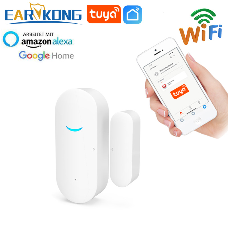 Tuya Smart WiFi Door Sensor Door Open   Closed Detectors Wifi Home Alarm Compatible With Alexa Google Home  Tuya APP