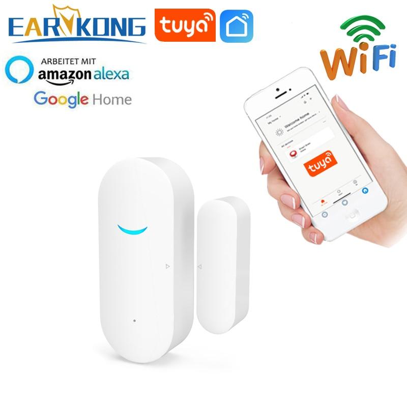 Смарт-датчик двери Tuya, Wi-Fi детекторы открытия/закрытия помещения, домашняя сигнализация, совместима с приложением Alexa/Google Home Tuya