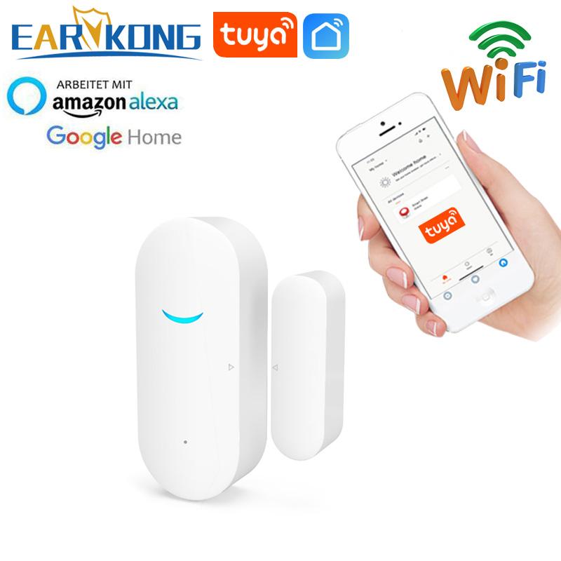 Tuya Smart WiFi Door Sensor Door Open / Closed Detectors Wifi Home Alarm Compatible With Alexa Google Home Tuya APP