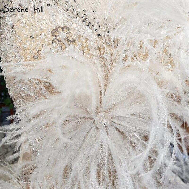 Image 5 - Champagne Sleeveless Sexy Wedding Dresses 2020 Dubai Luxury Sequined Feathers Bridal Gowns HX0005 Custom MadeWedding Dresses   -