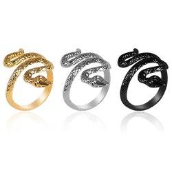 Retro osobowość męska pierścień zwierząt w kształcie węża otwarcie regulowany materiał stopu trzy kolory opcjonalnie biżuteria prezent Hot