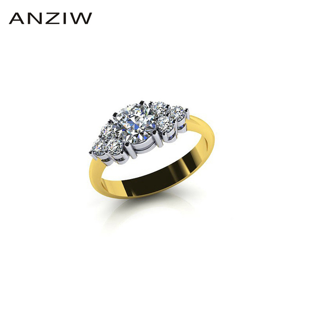 ANZIW 925 Sterling Silver Yellow Gold Color Ring Three Stones Round Cut Wedding Band for Women Engagement Lover Fine Jewelry