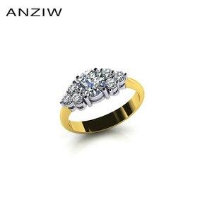 Image 1 - Женское Обручальное Кольцо ANZIW, кольцо из стерлингового серебра 925 пробы желтого золота с тремя камнями и круглой огранкой, ювелирные украшения для влюбленных