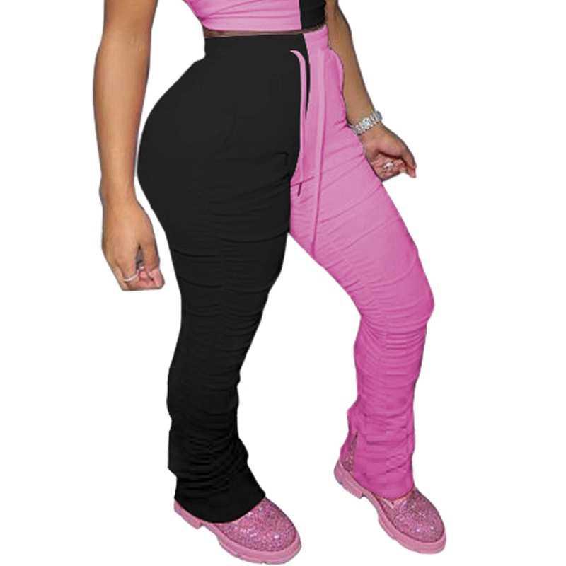 מכנסי טרנינג נשים גבוהה מותן סקיני מכנסי עיפרון גבירותיי Streetwear צבע בלוק אלסטי Stacked מזדמן רצים נשים זיעה מכנסיים