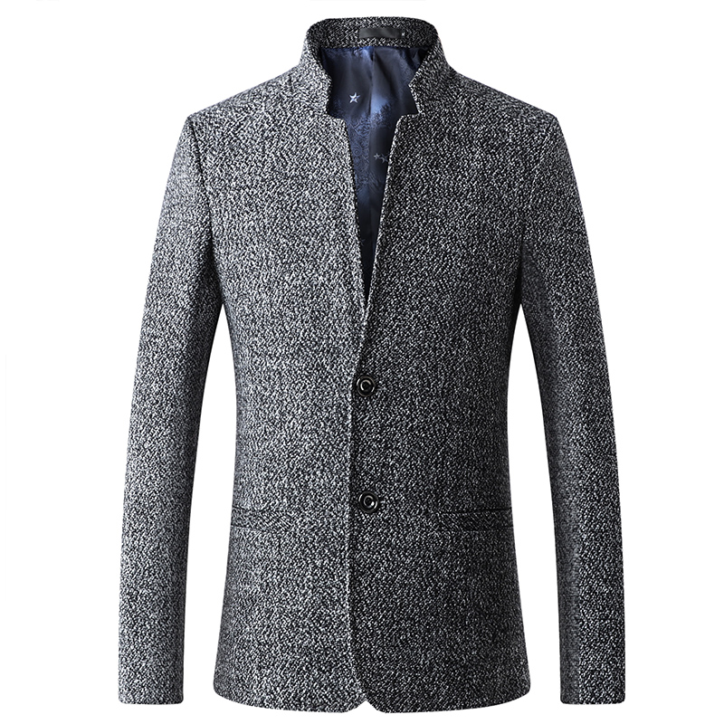 Tweed Blazer Tunic Men Suit Jacket With Stand Collar Casual Style New Fashion Prom Party Male Tops Coat FOVIVA JC920