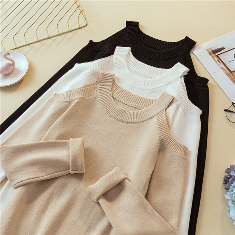 Shintimes Sexy Off Shoulder Knitted Sweater Women Solid Slim Pullover Sweater White Black Jumpers 2019 Autumn Winter Female Tops