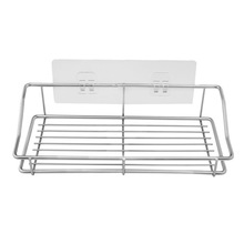 Bathroom Shelf Organizer Storage Kitchen Rack with Traceless Transparent Adhesive No Drilling Stainless Steel