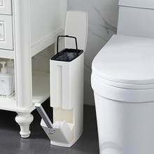 4LTrash Can Bathroom Trash Can with Toilet Brush Plastic Waste Bin Garbage Basket Bag Dispenser Bucket Desktop Dustbin Bathroom(China)