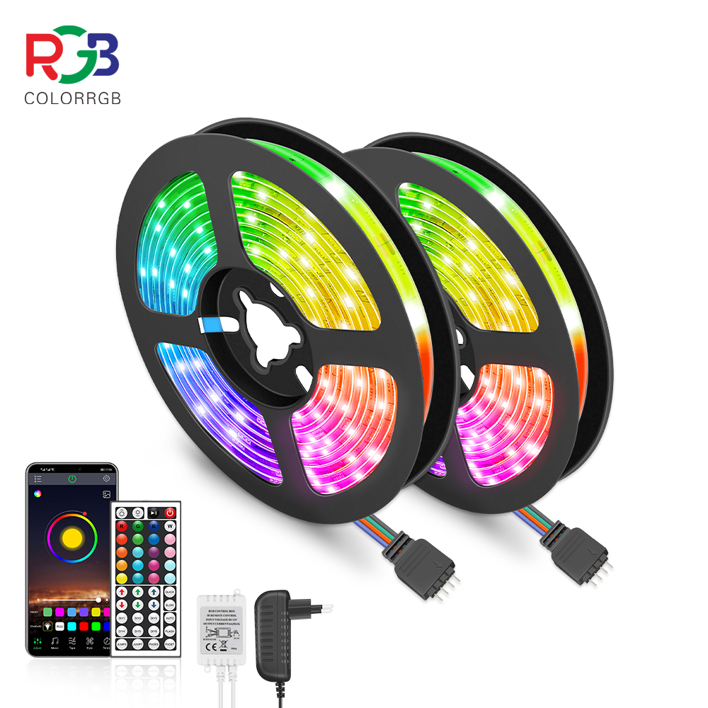 LED Strip Light RGB 5050 Flexible Ribbon fita led light strip RGB 5M 10M Tape Diode DC 12V  Remote Control  Adapter