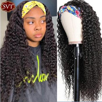 SVT Indian głęboka fala pałąk peruka ludzki włos peruka 26 Cal ludzkie włosy typu Remy szalik peruka Glueless głęboka peruka z lokami opaski dla kobiet tanie i dobre opinie CN (pochodzenie) Remy włosy Peruwiański włosów Średnia wielkość Ciemniejszy kolor tylko Deep Wave Headband Wig 150 180 Density Headband Wig Human Hair