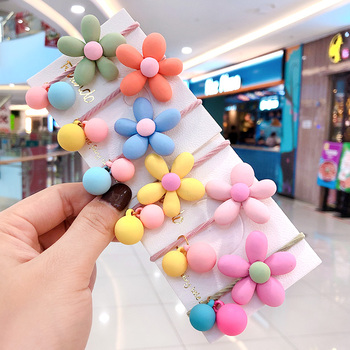 New Children Cute Candy Acrylic Flower Ball Elastic Hair Bands Girls Baby Lovely Scrunchies Rubber Bands Kids Hair Accessories 1 pcs new simple hair scrunchies flower beads double line elastic hair bands candy color lovely hair rope hair accessories girls