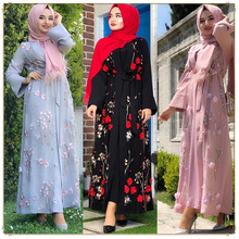 Dubai Arab Muslim open Abaya Dress Women Floral Caftan Lace-up Hijab Dresses Long Robe