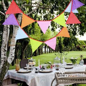 Image 5 - 12 דגלי 3.2m הבאנר גבתון נורדי פרחים דגלון נייר דגל המפלגה פעמון זר יום הולדת חתונת קישוט המפלגה