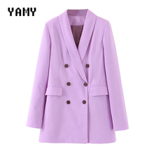 New Lilac color Womens double breasted Blazer long sleeve Spring solid office la