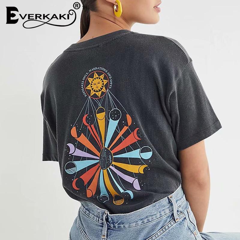 Everkaki Vintage Boho Print T-shirt Top Women Summer Retro Tees Gypsy Ladies Ethnic Tops T-shirts Casual Female 2020 New Fashion