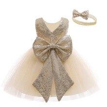 Летнее платье для младенцев LZH, платье для маленьких девочек на 1-й день рождения, детское платье принцессы с блестками для свадебной вечерин...