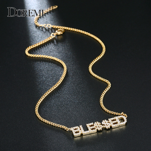 Image 1 - DOREMI 9mm Crystal Pendant Letters Necklace for Women Custom Jewelry Custom Name Necklaces Numbers Personalized Zirconia Pendant