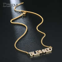 DOREMI 9mm Crystal Pendant Letters Necklace for Women Custom Jewelry Custom Name Necklaces Numbers Personalized Zirconia Pendant