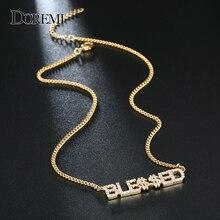 DOREMI 9mm Kristall Anhänger Buchstaben Halskette für Frauen Nach Schmuck Custom Name Halsketten Zahlen Personalisierte Zirkonia Anhänger