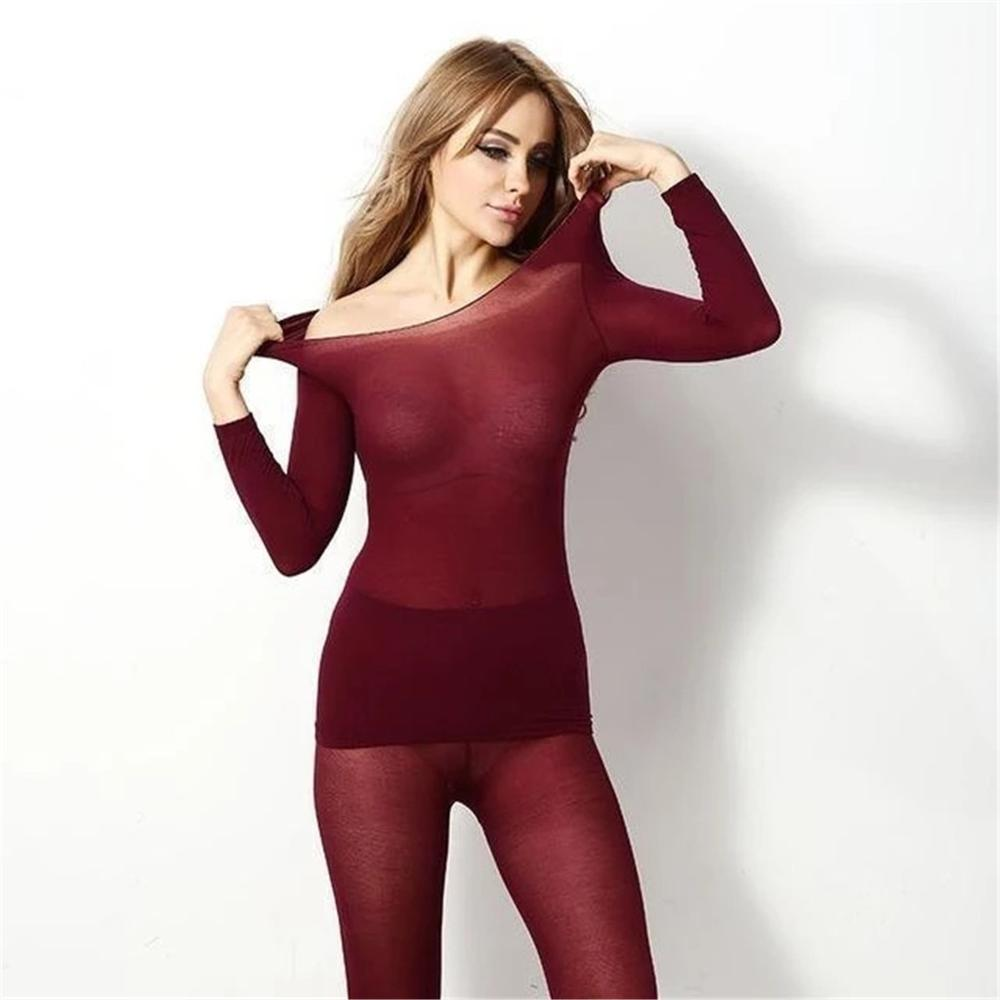 Fashion Long Sleeve Sleepwear Set Seamless Elastic Thermal Inner Wear Underwear Warm Winter 2PC Set Pyjama Femme 2019 New Hot E