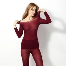 Fashion Long Sleeve Sleepwear Set Seamless Elastic Thermal Inner Wear Underwear Warm Winter 2PC Pyjama Femme 2019 New Hot E