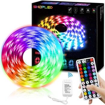 цена на Led Strip Light RGB 5050SMD Flexible Ribbon 12V Led Light Strip 24V RF Remote AC85-265V 5M 10M Tape Diode DC 12V Bluetooth Music